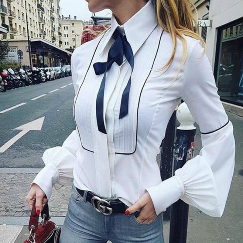 5d7e06e4f8aa Pajarita Blusas Mujer Linterna Manga Camisas Top Button Camisas Blancas  Mujer Elegante Oficina Top Sexy Club Camisa Party Blusas GV159