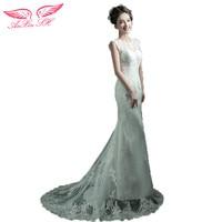 Anxin sh豪華なレース背中の開いたセクシーなスリム花嫁のウェディングドレス魚尾テールウェディングドレス韓国の冬新しい376Q s