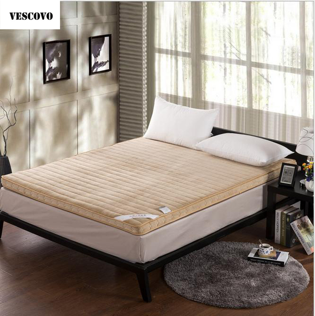 VESCOVO Double Air Mattress Foldable Massage Matrassen Fleece Memory Foam  Mattress For Twin Full Queen Bed