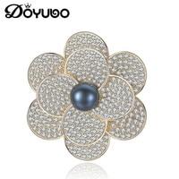 DOYUBO Luxury Gold Color Lady Brooch 925 Sterling Silver Flower Shape Black Freshwater Pearl Brooch Women Wedding Jewelry VH003
