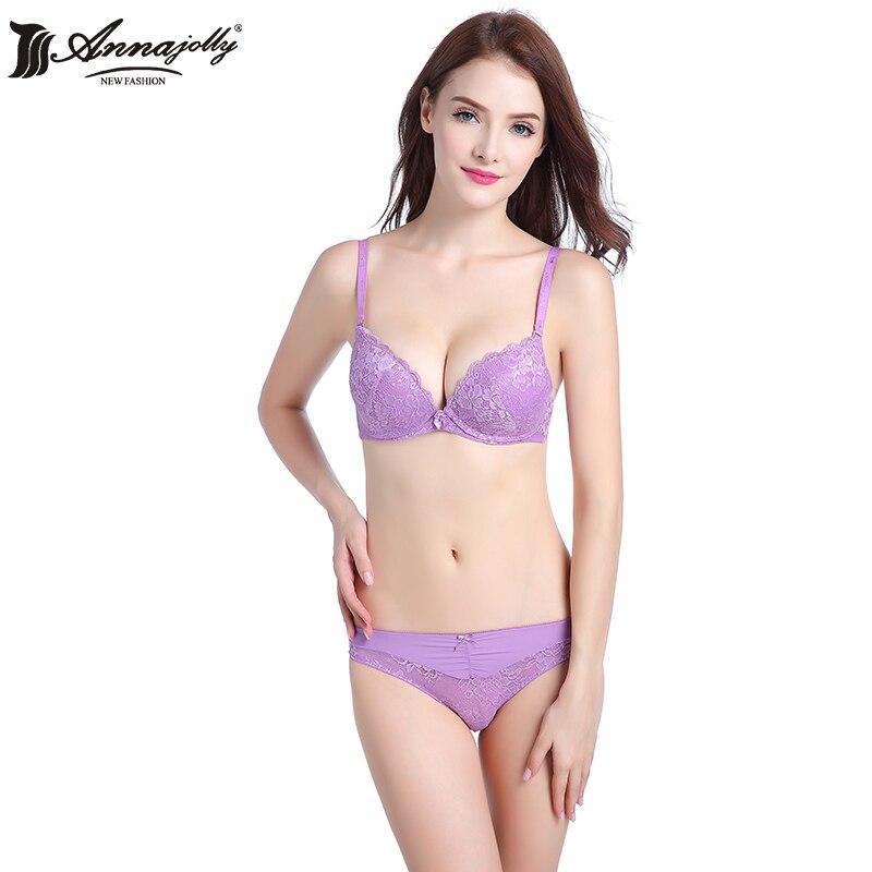 Annajolly Women Bra Sets Sexy Lace Push Up B C 3/4 Cup Bras And Panties Briefs Purple Blue Underwear Lingerie Fashion New U9023