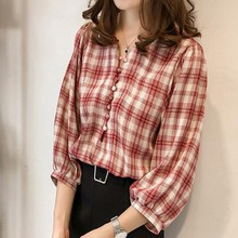 Fashion Women Plaid V Neck Ladies Office Tops Sexy Buttons Lantern Long Sleeve Blouse Shirts 2019 New Korean Casual Loose Shirt