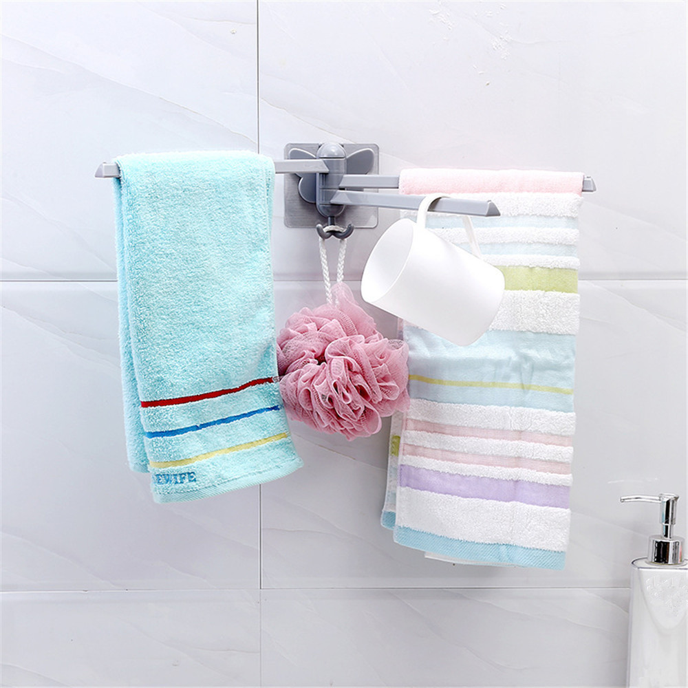 Bathroom Storage Rack Wall Mounted Towel Holder Organizer 3 Hangers ...