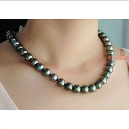 free shipping AAA 179-10 mm REAL natural TAHITIAN black GREEN pearl necklace^^^@^Noble style Natural Fine jewe  ()free shipping AAA 179-10 mm REAL natural TAHITIAN black GREEN pearl necklace^^^@^Noble style Natural Fine jewe  ()
