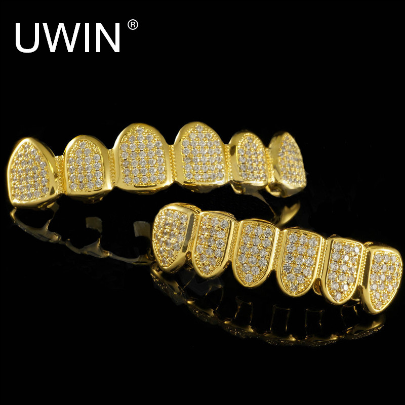 UWIN Neue Custom Fit Silber Gold Farbe Alle Iced Out Luxus AAA zirkon Strass Top & Bottom Gold Grills set Hop HIP zähne Geschenk