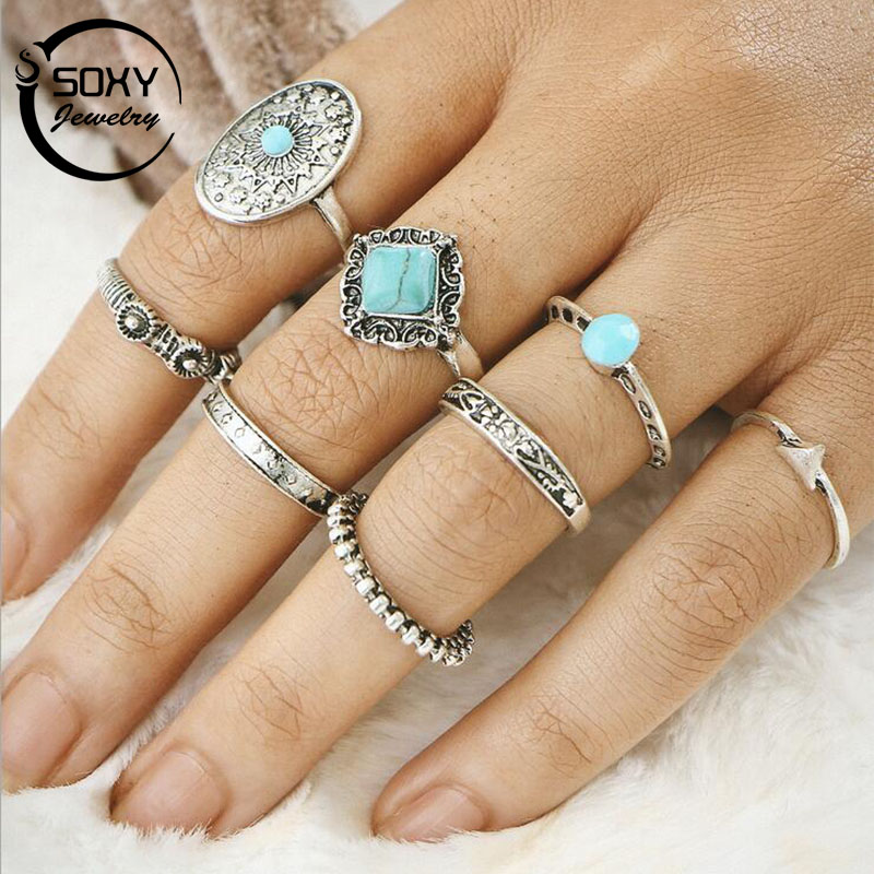 SOXY Trendy Retro Ring Sets Antique Silver Natural Stone 8PCS/SET Finger Rings for Women Men Personality Ring