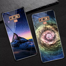 Note9 Starry sky Phone Case Coque For Samsung Galaxy Note 9 Tempered Glass Cover para for S9 Plus