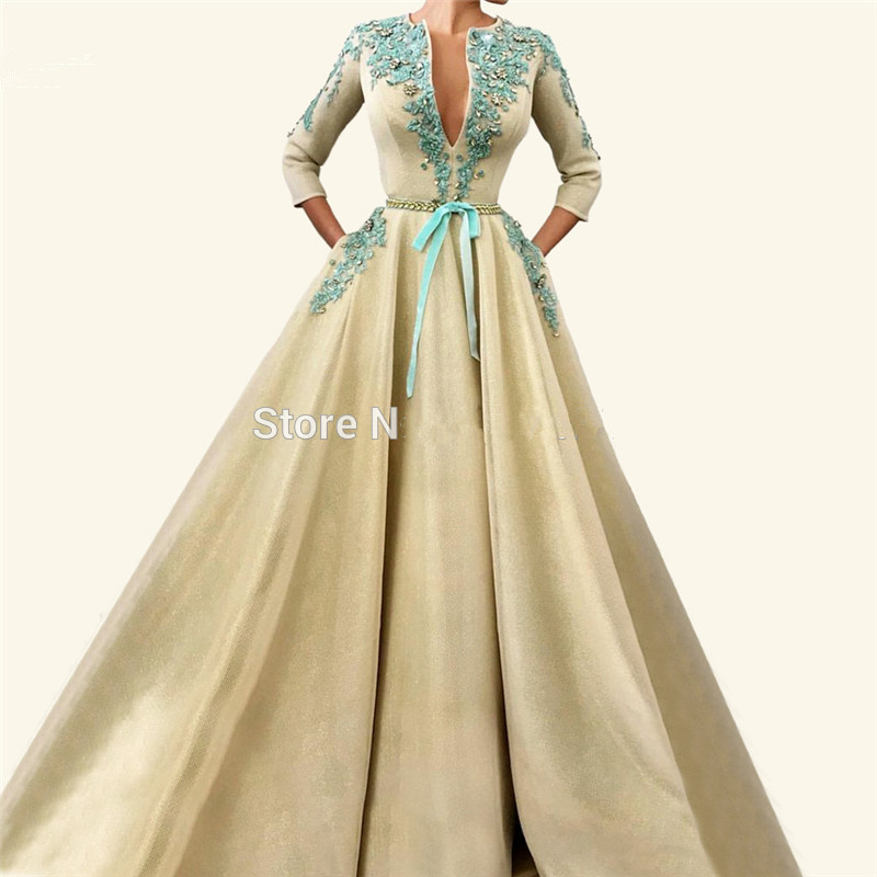 Plus Size Muslim   Evening     Dresses   2019 A-line 3/4 Sleeves Lace Beaded Long Islamic Dubai Saudi Arabic Long Formal   Evening   Gown