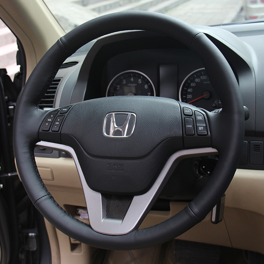 Case Honda CRV 2007-2011 Steering wheel covers Car styling DIY genuine leather Anti-slip breathable - Auto Accessories Store store