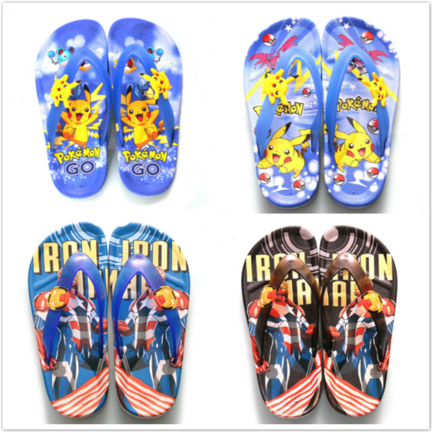 detailed images cute cheap usa cheap sale US $3.43 14% OFF|New Summer Children Sandals Baby Boys Slippers Cartoon  Pokemon Iron Man Beach Kid Flip Flops Non Silp Girls Spider Man Shoes-in ...