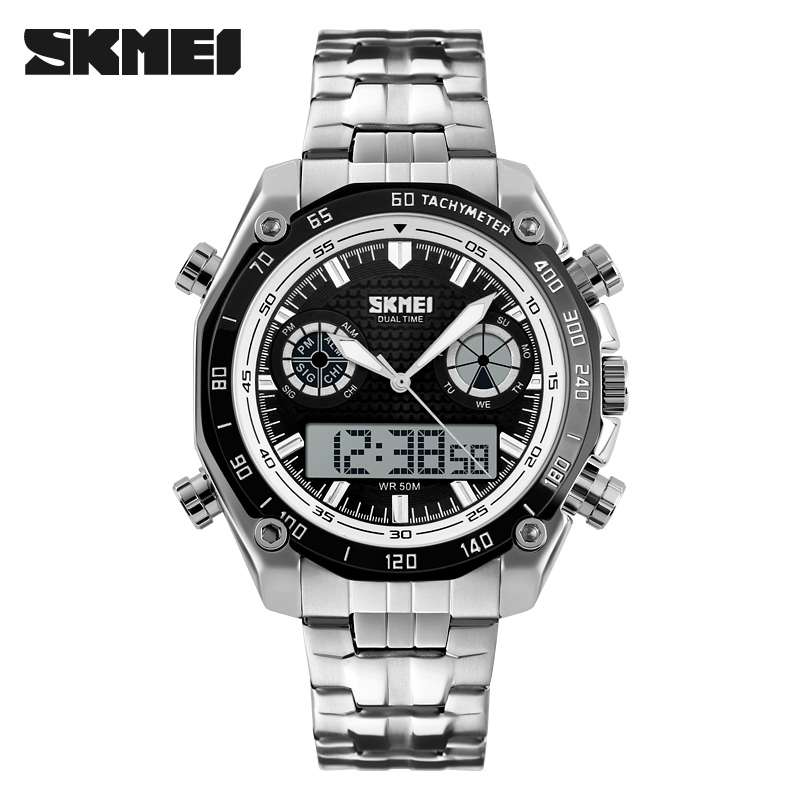 SKMEI Brand Men Sport Watch Digital Fashion Electronic Quartz Male Watches Stainless Steel Waterproof Men Wristwatches Relogio skmei men sports waterproof watch stainless steel fashion digital wristwatches