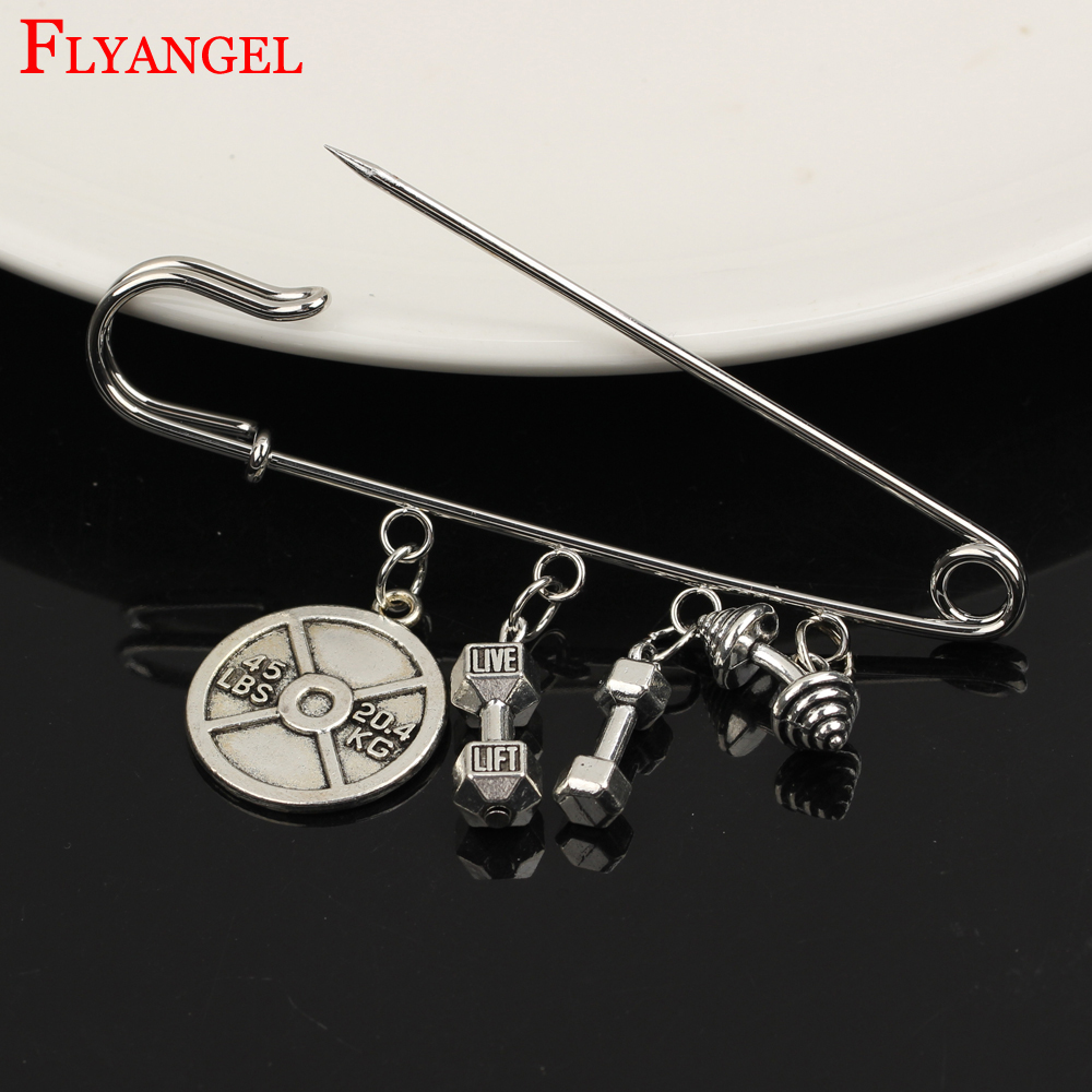 Weight Loss Weight Plate Men Women Shawl Pin Kilt Pin Fitness Brooch 4 Holes Live Lift Dumbbell Barbell Pendant Clothes Jewelry
