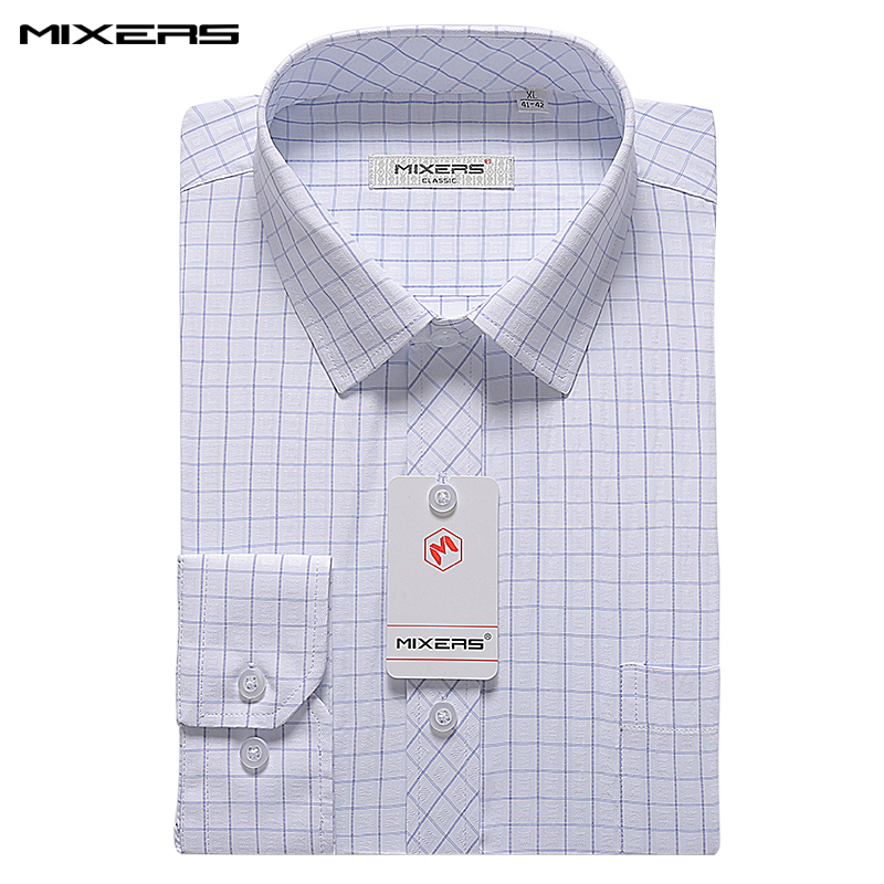 2018 Autumn High Quality Formal Dress Shirt Men Long Sleeve Cotton Luxury Male Shirt Blue Plaid Casual Shirts Men Brand Camisas