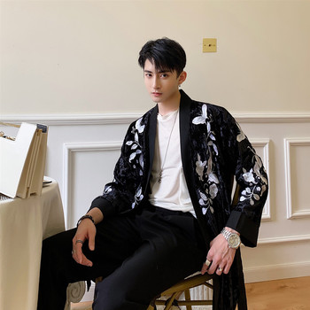 Mens Embroidered Jacket | Men Embroidered Trench Jacket Male Women Streetwear Fashion Hip Hop Kimono Cardigan Coat Spring Autumn Shirt Style Outerwear