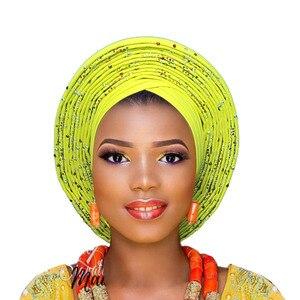 Image 5 - 2018 plus récent aso oke tête cravate violet nigérian déjà fait peut porter directement casque