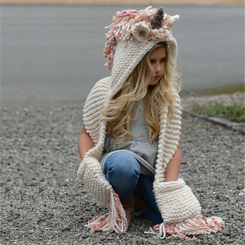 Mother Nest Childrens Sleeveless Sweaters Lovely Unicorn Hooded Pocket Knitted Scarf Kids Halloween Cosplay Costume 2018 WinterMother Nest Childrens Sleeveless Sweaters Lovely Unicorn Hooded Pocket Knitted Scarf Kids Halloween Cosplay Costume 2018 Winter