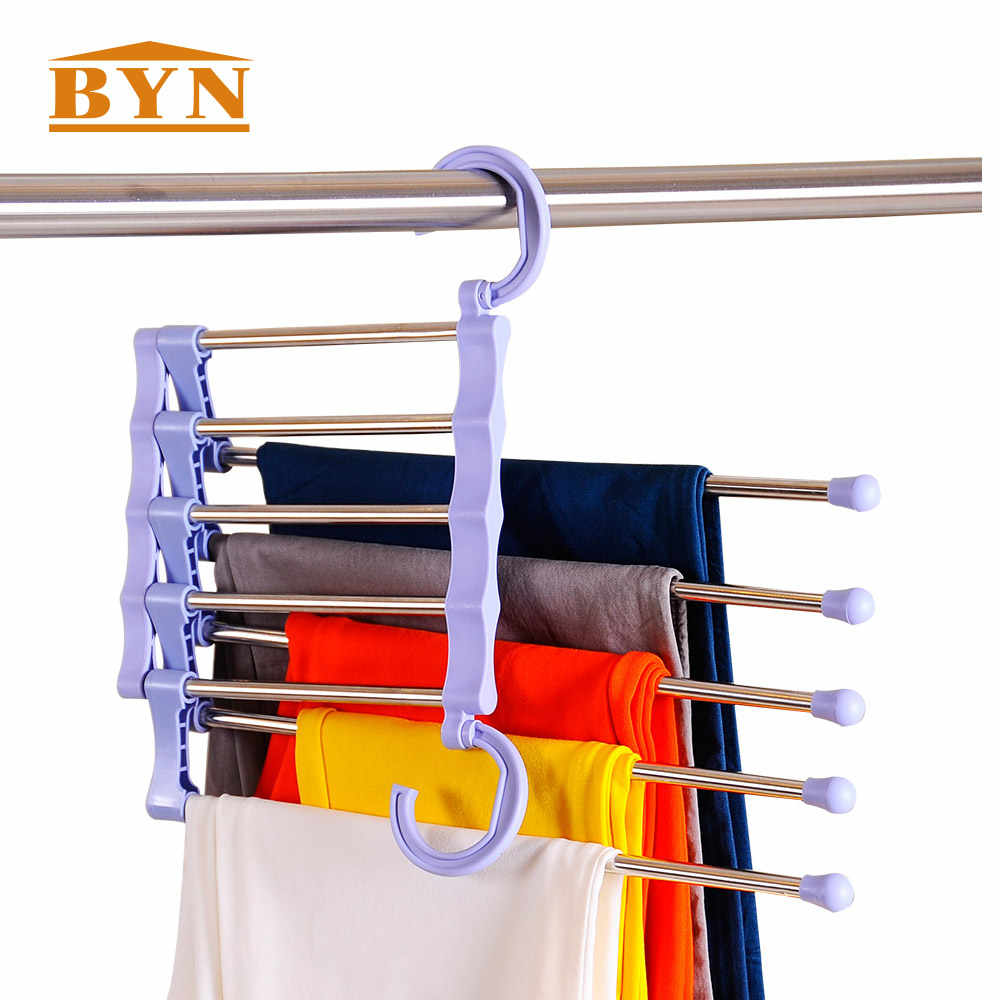 Saving space hanger metal pants hanger closet storage for jeans trousers hanger hook cloth rack foldable trouser rack DQ0825-1