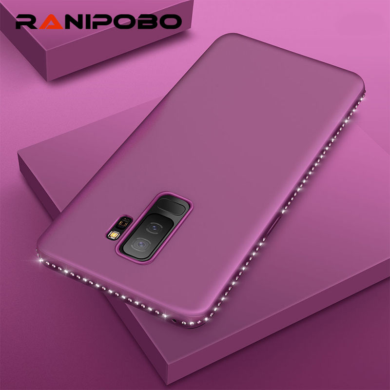 Luxury Solid color Bling diamond Phone Case for Samsung Galaxy Note 8 S7 S7edge S8 S8Plus S9 S9Plus Ultra Thin Soft Back Cover