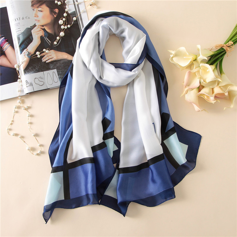<font><b>180*90cm</b></font> Large Women's <font><b>Silk</b></font> <font><b>Scarf</b></font> Elegant Bows Pattern Long <font><b>Scarf</b></font> Soft Satin Bowknot Striped Shawl Hijab Printing Echarpe Femme image