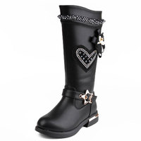 Girls Elegant Lace Crystal Boots Black Red Anti skid PU Leather Shoes Size26 37 Long Botas Princess Spring Winter Mid calf Boots