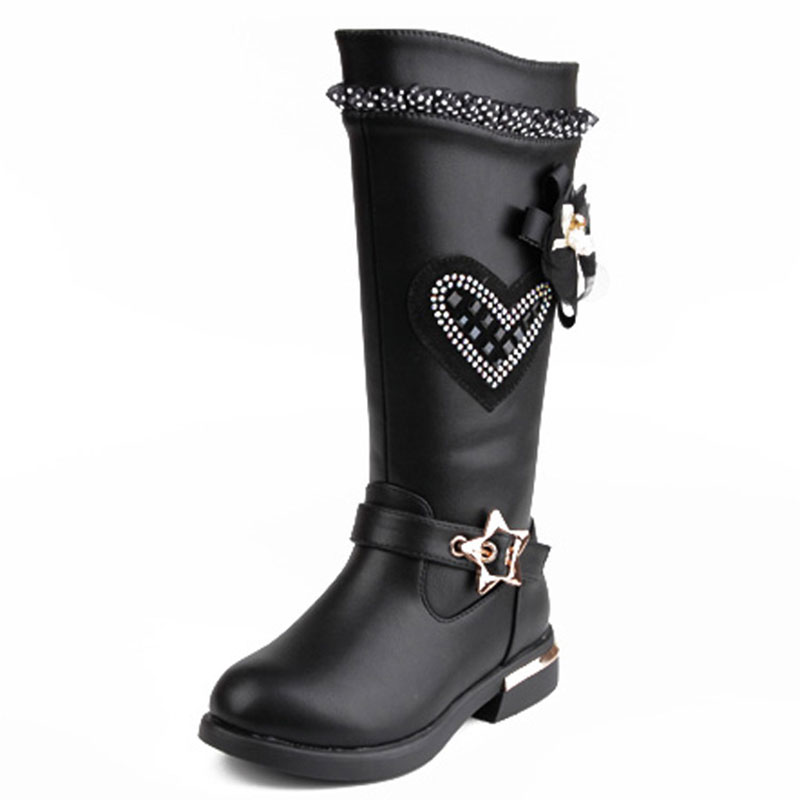 Girls Elegant Lace Crystal Boots Black Red Anti-skid PU Leather Shoes Size26-37 Long Botas Princess Spring Winter Mid-calf Boots