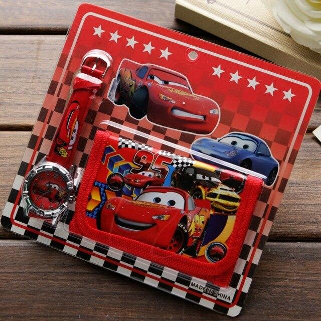 ילדים חדשים Cartoon ארנק שעון סט יפה רכב סיפור שעונים ילדה או ילד יום הולדת מתנות קוורץ עור תלמידי שעון מכירה לוהטת