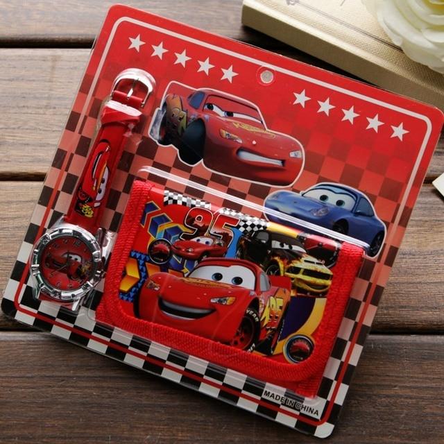 New Children Cartoon Wallet Watch Set Lovely car story Watches Girl or Boy Birth