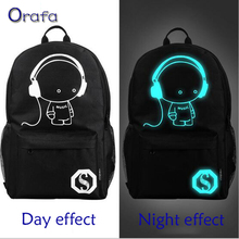 2016 New fashion nightlight casual Men's backpack Anime Luminous teenagers Men Student Cartoon School Bags travel Rucksack