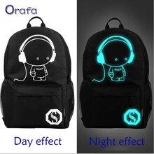 2016 New fashion nightlight casual Men's backpack Anime Luminous teenagers Men Student Cartoon School Bags travel Rucksack