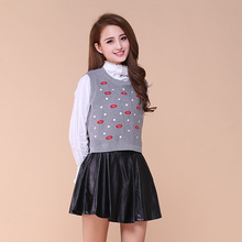 Spring and autumn short red lips design woven vest sweater female fashion sleeveless top 5510710009
