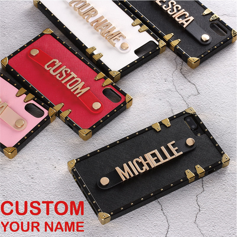 For iPhone 6 6S XS Max XR 7 7Plus 8 8Plus X Custom Leather Trunk Case Holding Strap Gold Metal Personalized Name Text Phone