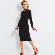 Sisjuly Women Autumn Sweater Dress Girls Long Sleeve Black Turtleneck  Mid-Calf  Dresses Girls Bodycon Sweater Dress