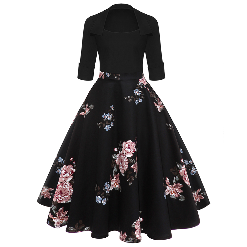 Ladies Winter Evening Cocktail Party 3//4 Sleeve Floral Print A Line Casual Dress