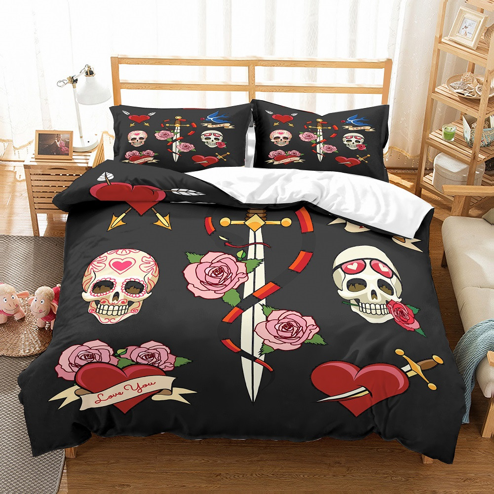 Fanaijia Sugar Skull 3d Bedding Set Luxury Queen Duvet Cover Set With Pillowcase Rose Skull Bet Set