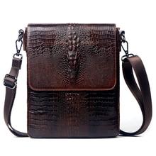 Crocodile Pattern Cowhide genuine leather male shoulder bag Famous design leather bag mens business leather bag fashion handbag