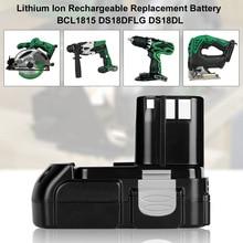 18V 2.0Ah lityum şarj edilebilir pil Hitachi BCL1815 BCL1830 EBM1830 DS18DFL CJ18DL DS18DL WR18DMR güç araçları Batteria