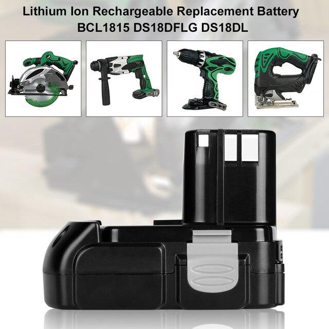 Batterie Rechargeable au Lithium 18V 2.0Ah pour Hitachi BCL1815 BCL1830 EBM1830 DS18DFL CJ18DL DS18DL WR18DMR outils électriques Batteria