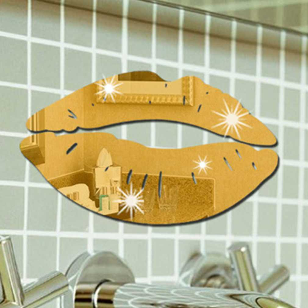 DIY Wall Mirror Sticker Bathroom 4 Colors Lip Shape Living Room Home ...