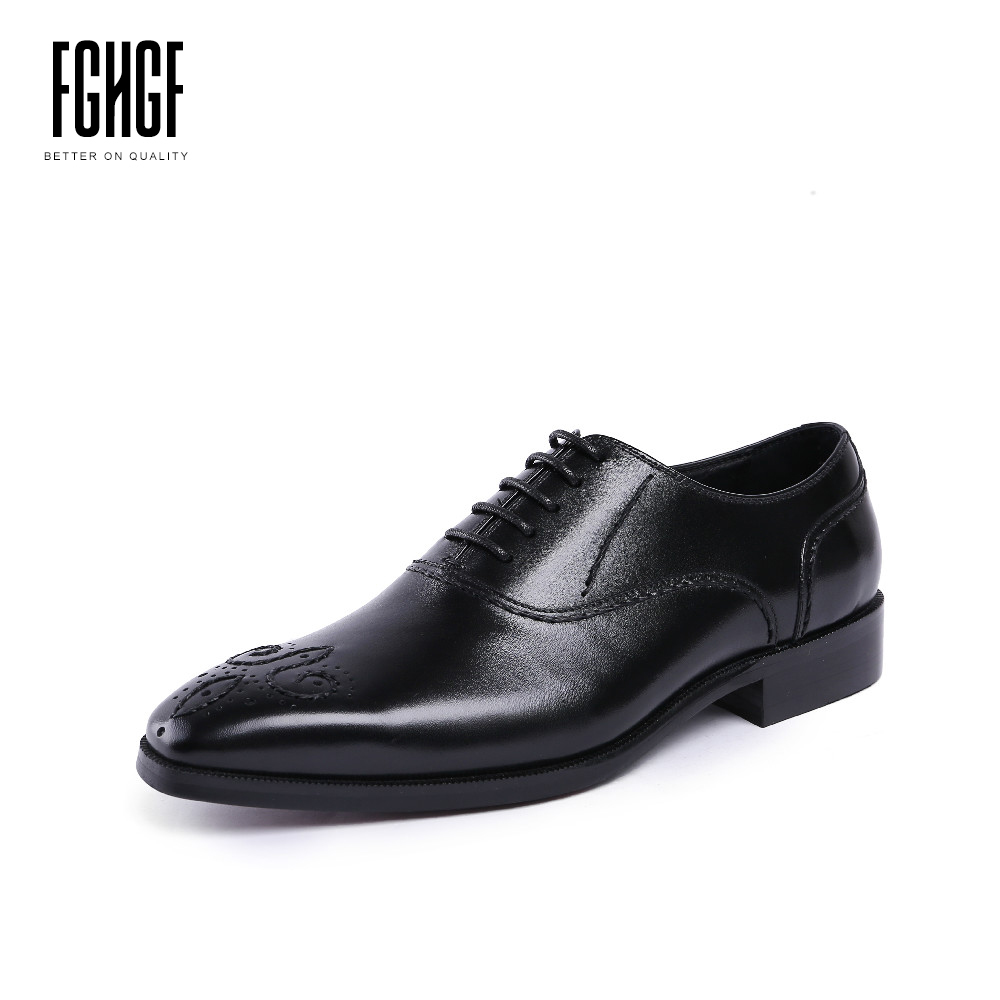 Classic Men's Oxfords Shoes Genuine Leather Cowhide Leather Round Toe Brogue Style Dress Wedding Business 2018 New Lace-up 247 classic leather