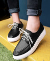 women pointed toe casual shoes slip on loafer thick sole casual lace up shoes white color