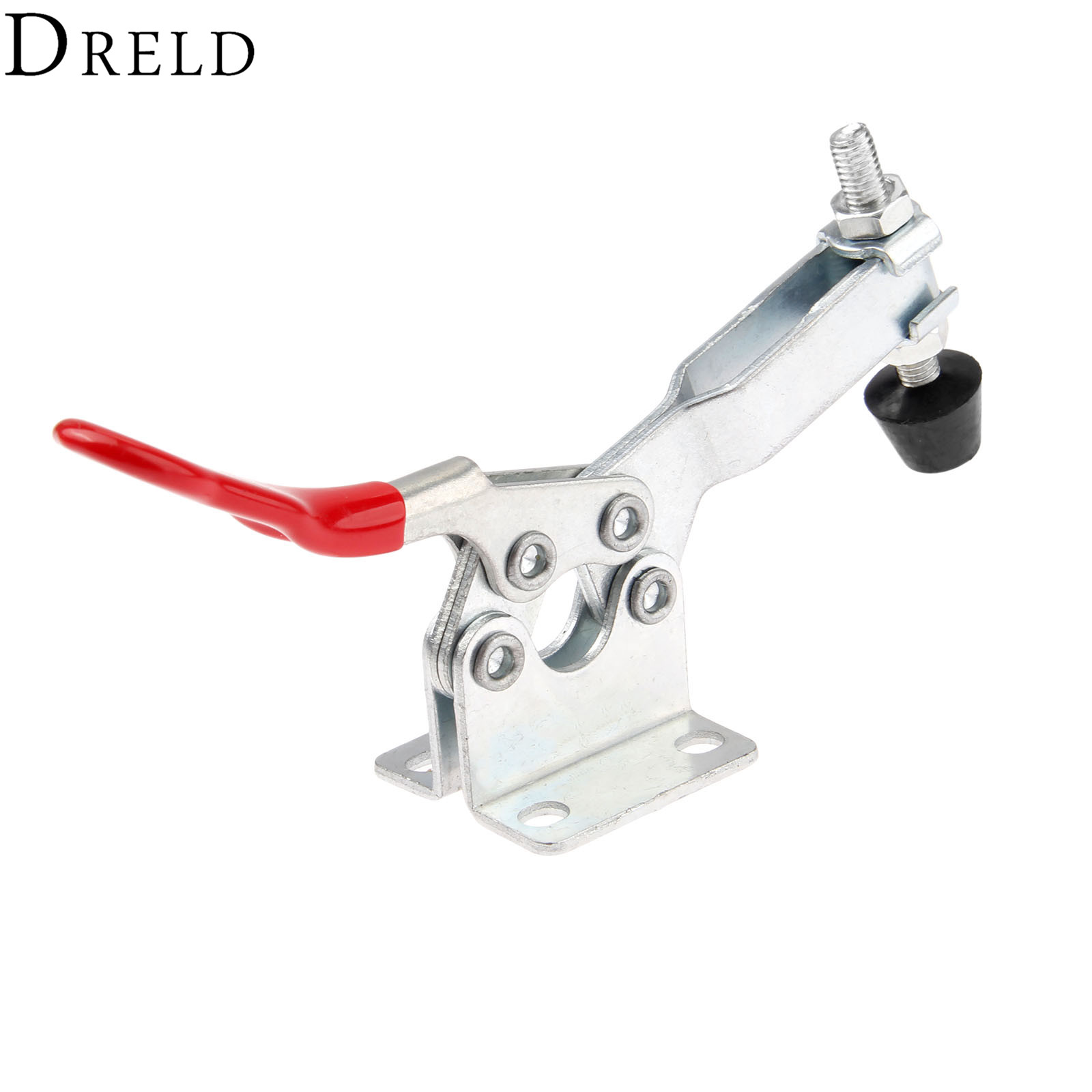 DRELD 1pc GH-201-B Horizontal Toggle Clamp Tool 90Kg 198 Lbs Holding Capacity Red Handle Quick Release Metal Fixture Hand Tools