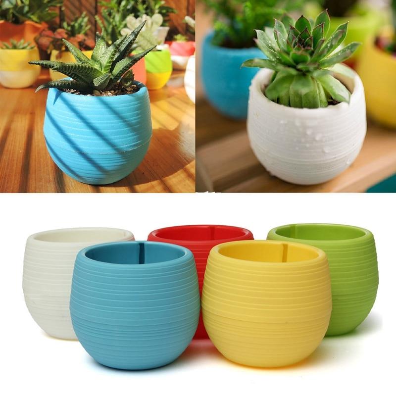 Mini Colourful Round Plastic Plant Flower Pot Garden Home Office Decor Planter Desktop Flower Pots