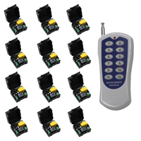 Mini Size AC 220V 1CH Wireless Remote Control Switch Relay 12 X Receivers 1 X 12CH