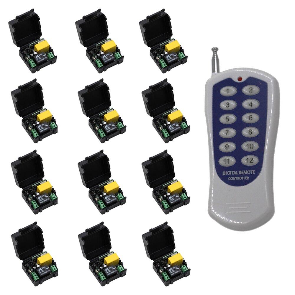 Mini Taille AC 220 V 1CH Télécommande Sans Fil Commutateur Relais 12 X récepteurs + 1 X 12CH Transmetteur Système 315/433.92 MHZ À Bascule