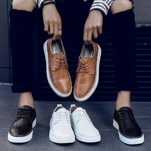 Image 5 - Ademend Schoenen Lace Up Comfortabele Naaien Mode Echt Lederen Sneakers Casual Schoenen Zapatillas Hombre Dropshipping L4