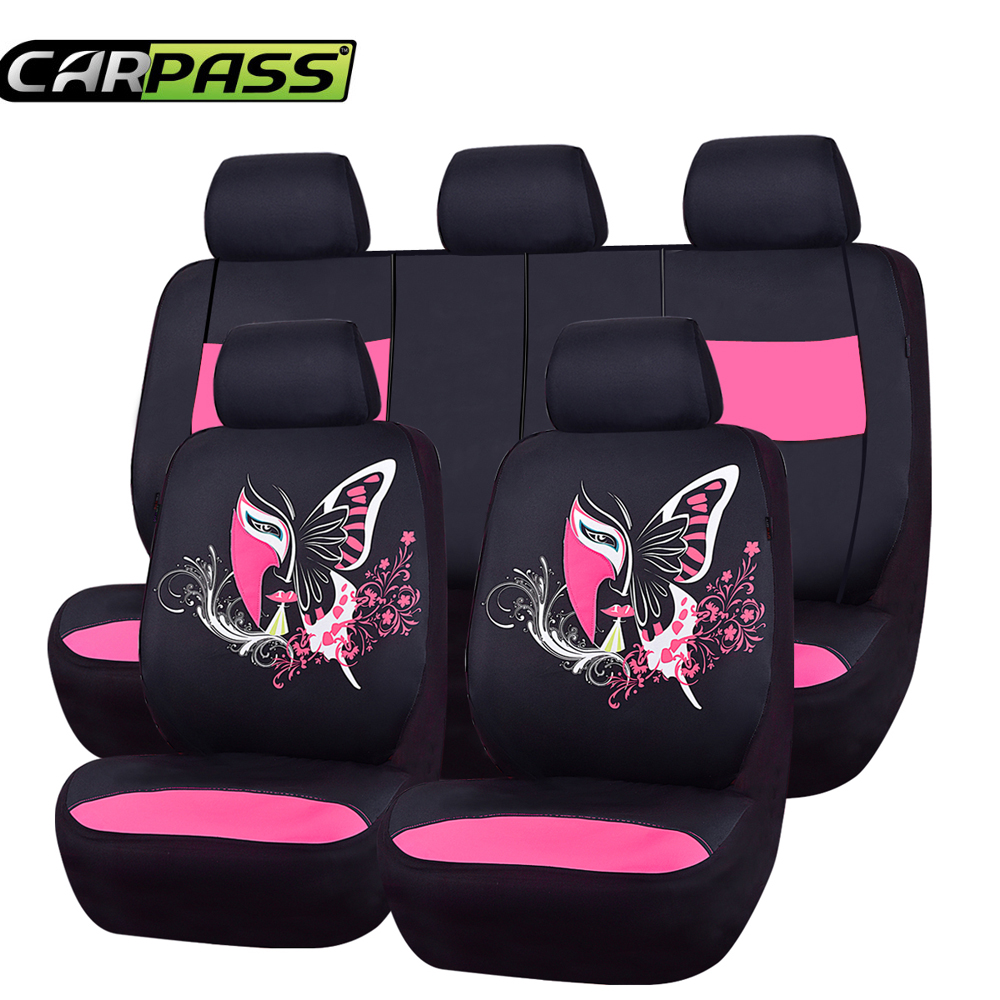 Car Pass Butterfly Universal Car Seat Cover Cute Pink Red