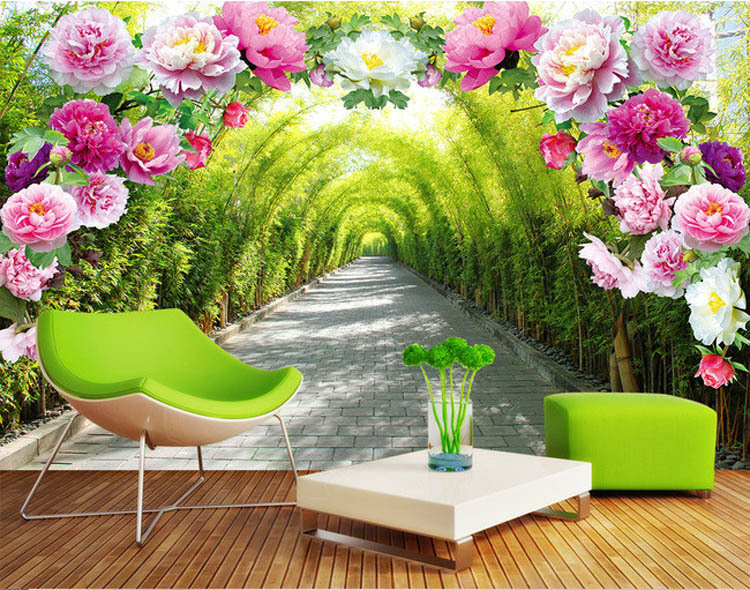 Wallpaper Dinding Tangga Romantic Rose Flowers Wall Mural Natural Scenery Photo