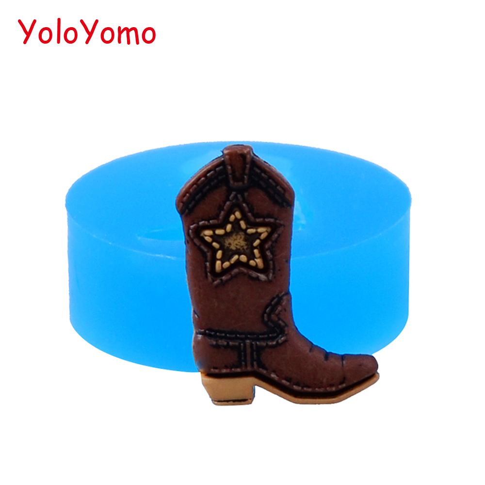 F486yl 22 4mm Cowboy Boot Silicone Mold For Dessert