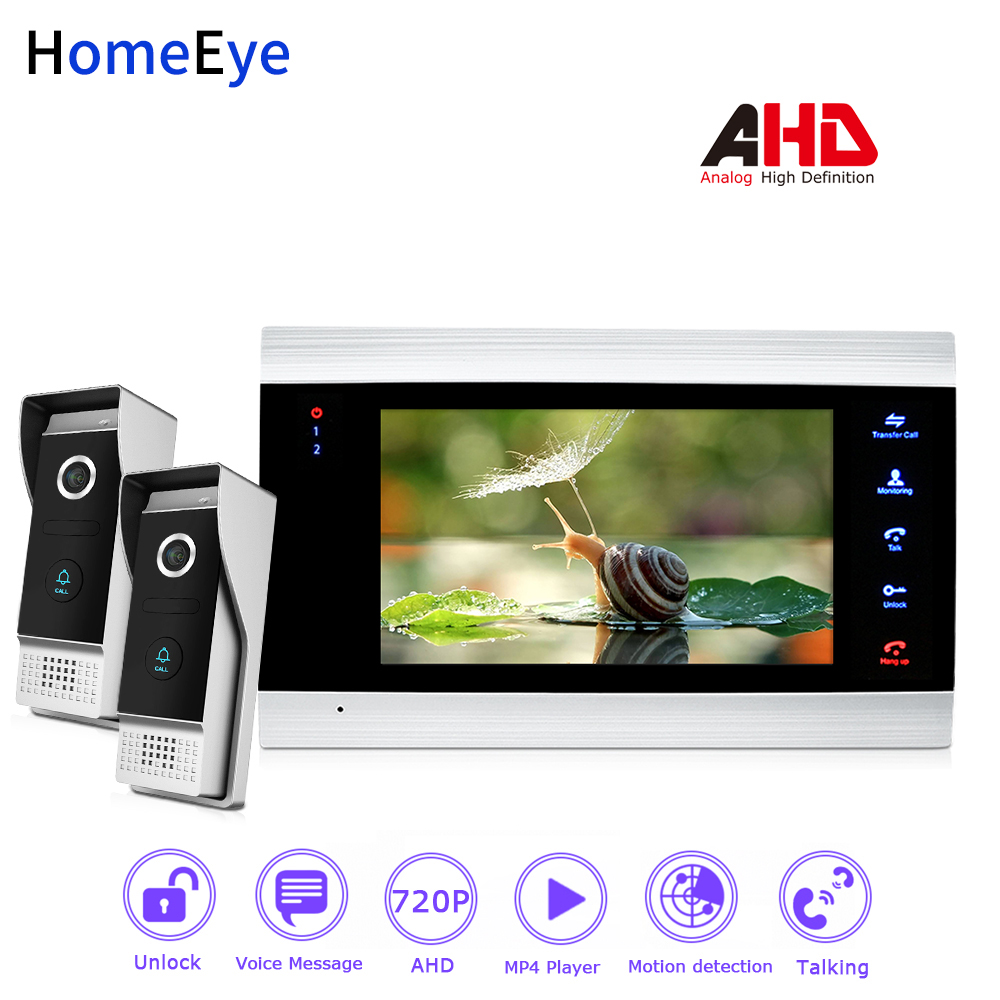 HomeEye 720P AHD Video Door Phone Video Intercom Home Access Control System 2-1 Motion Detection Security Alarm Wide View Angle