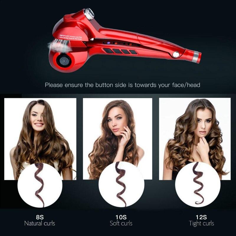 CkeyiN automatique Spray fer à friser en céramique vapeur cheveux bigoudi en céramique coiffure bigoudi LED numérique cheveux Curl rouleau Curling - 2